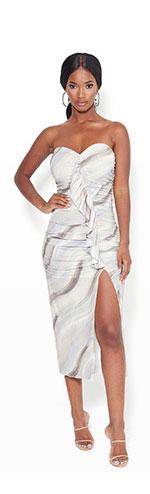 Print Strapless Midi Dress