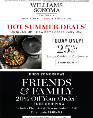 25% Off Lodge Cast Iron + FRIENDS & FAMILY Ends Tomorrow In Stores & Online