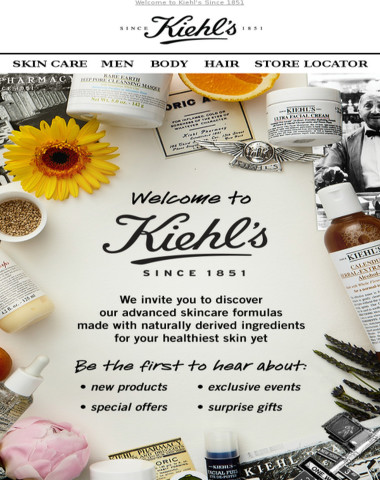 Thanks for Signing up with Kiehl's!