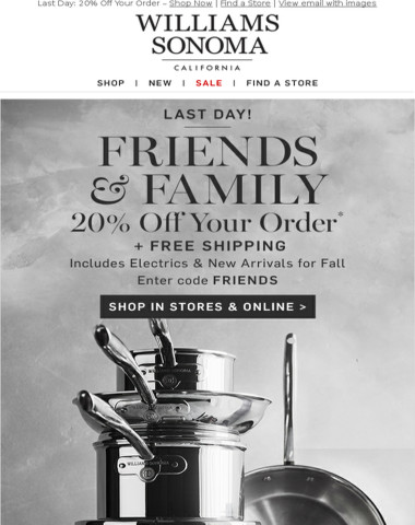 LAST DAY! 20% Off Your Order + Free Fast Shipping  -  In Stores & Online