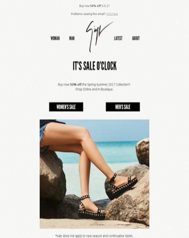 It's Sale o'clock: 50% off!