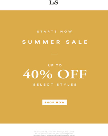 Up to 40% Off - Summer Sale Starts Now