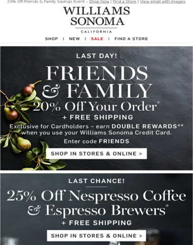 Last Day! 25% Off Nespresso + Friends & Family Ends Tonight