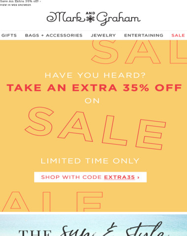 Don't forget! Take an extra 35% off all sale styles!