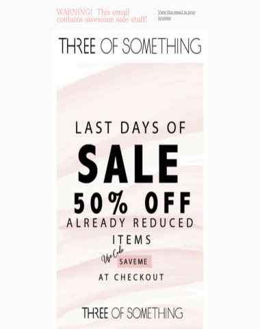 WARNING: This email contains awesome SALE