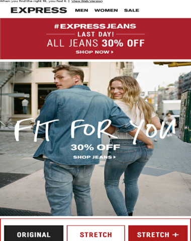 Last day! 30% off ALL jeans (+Extra 50% off Clearance)