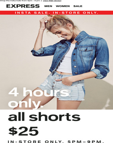 4 HOURS ONLY: all shorts $25 in-store tonight
