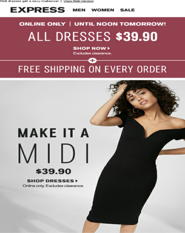 ALL dresses $39.90 + FREE shipping on every order