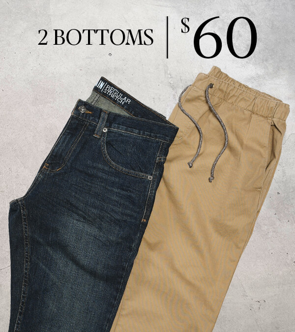 MEN'S PACKAGE DEALS - Save 25% When You Build A Package Deal, 2 Bottoms for $60 | Shop This Deal