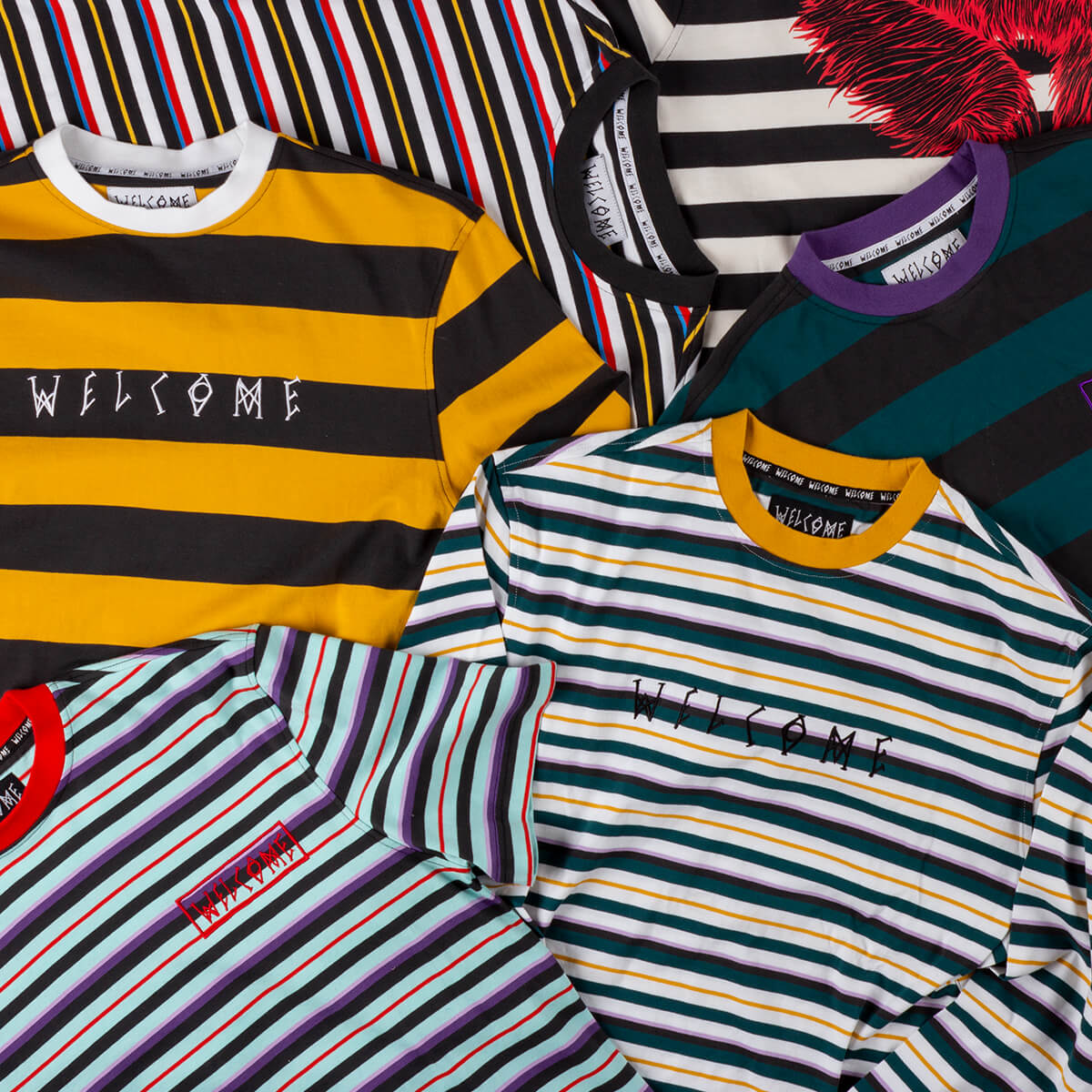 STRIPED TEE STYLES FEAT. WELCOME & MORE - SHOP NEW TEES