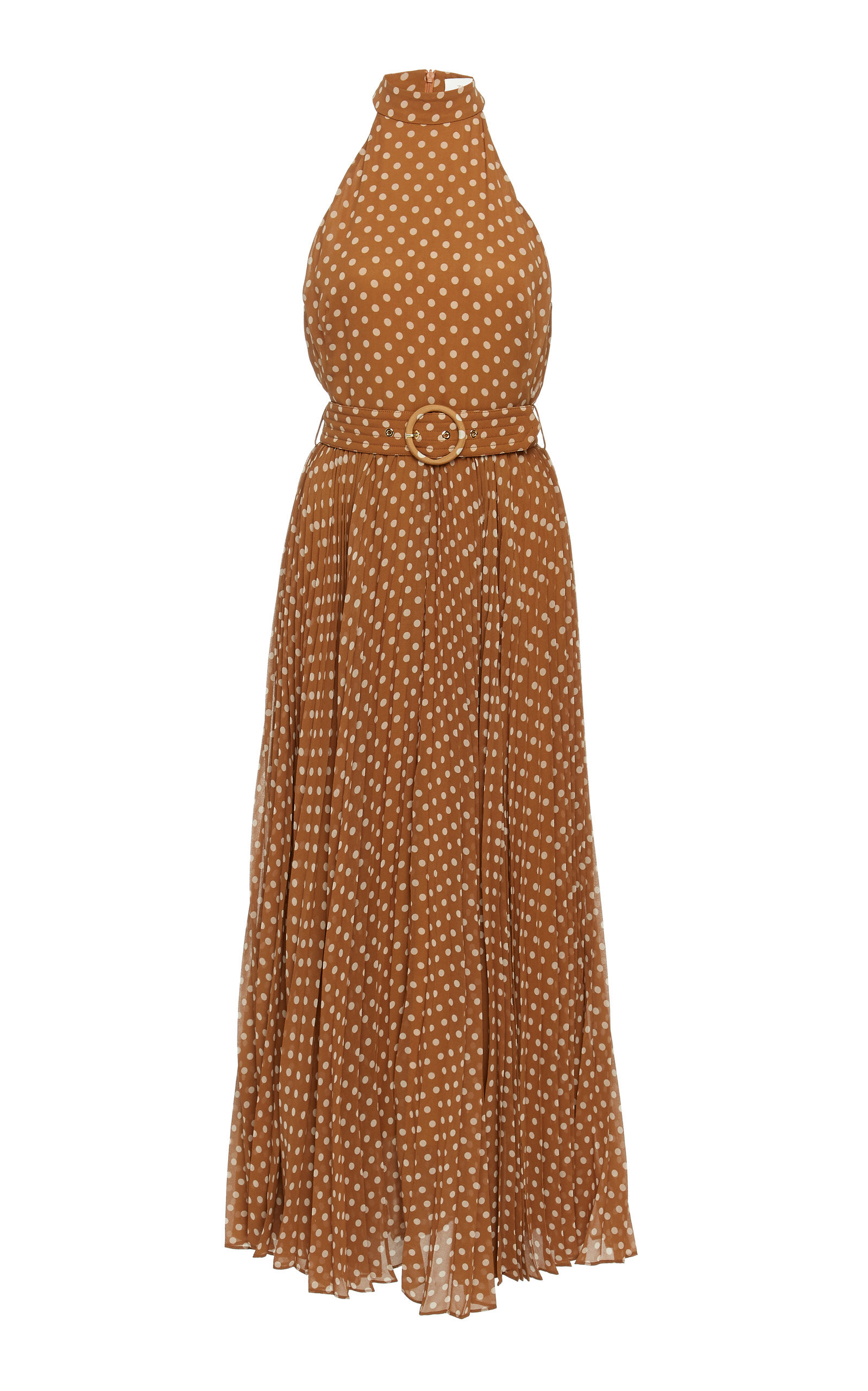 Espionage Polka Dot Pleated Chiffon Dress