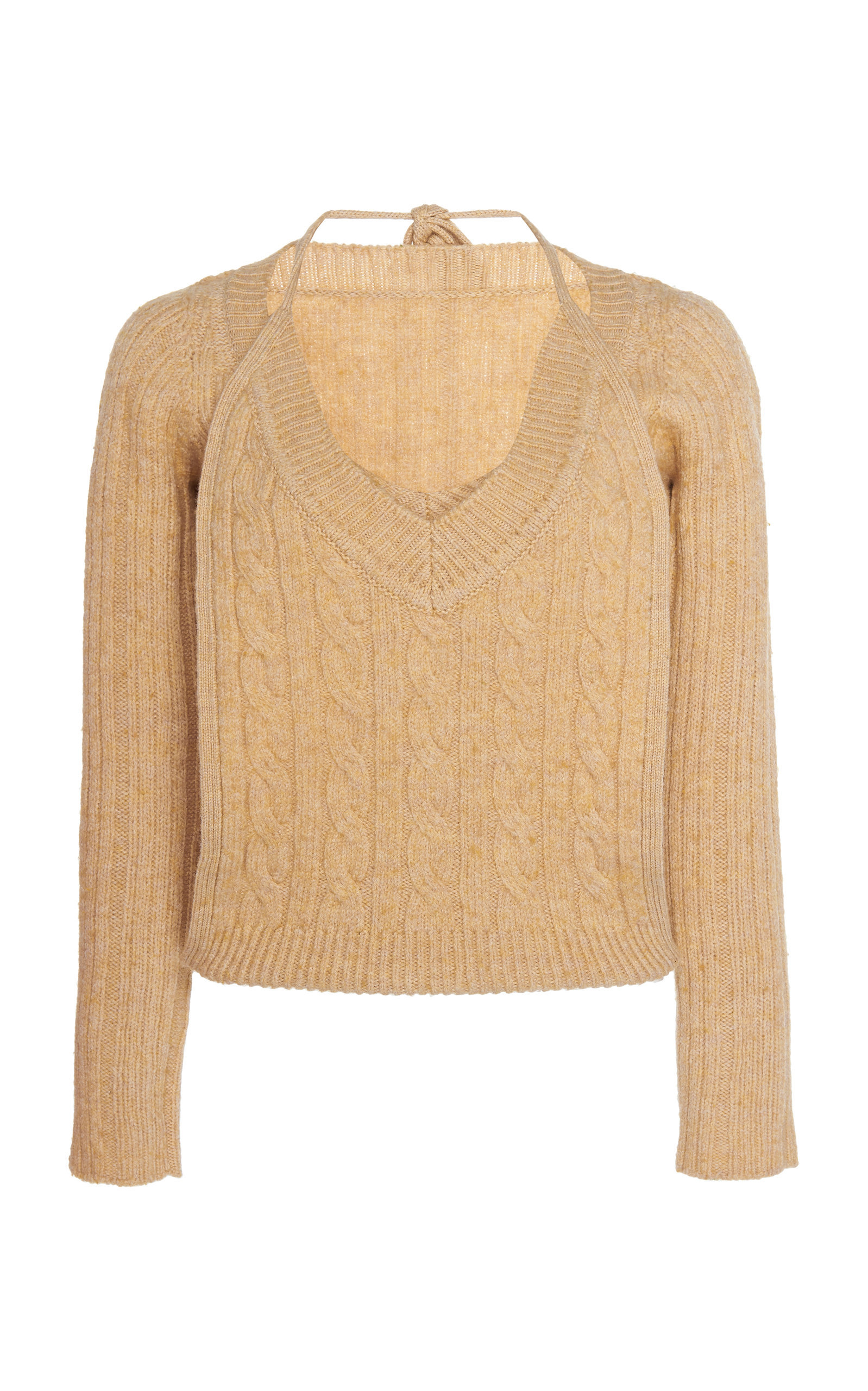 Double-Layer Cable-Knit Halter Sweater
