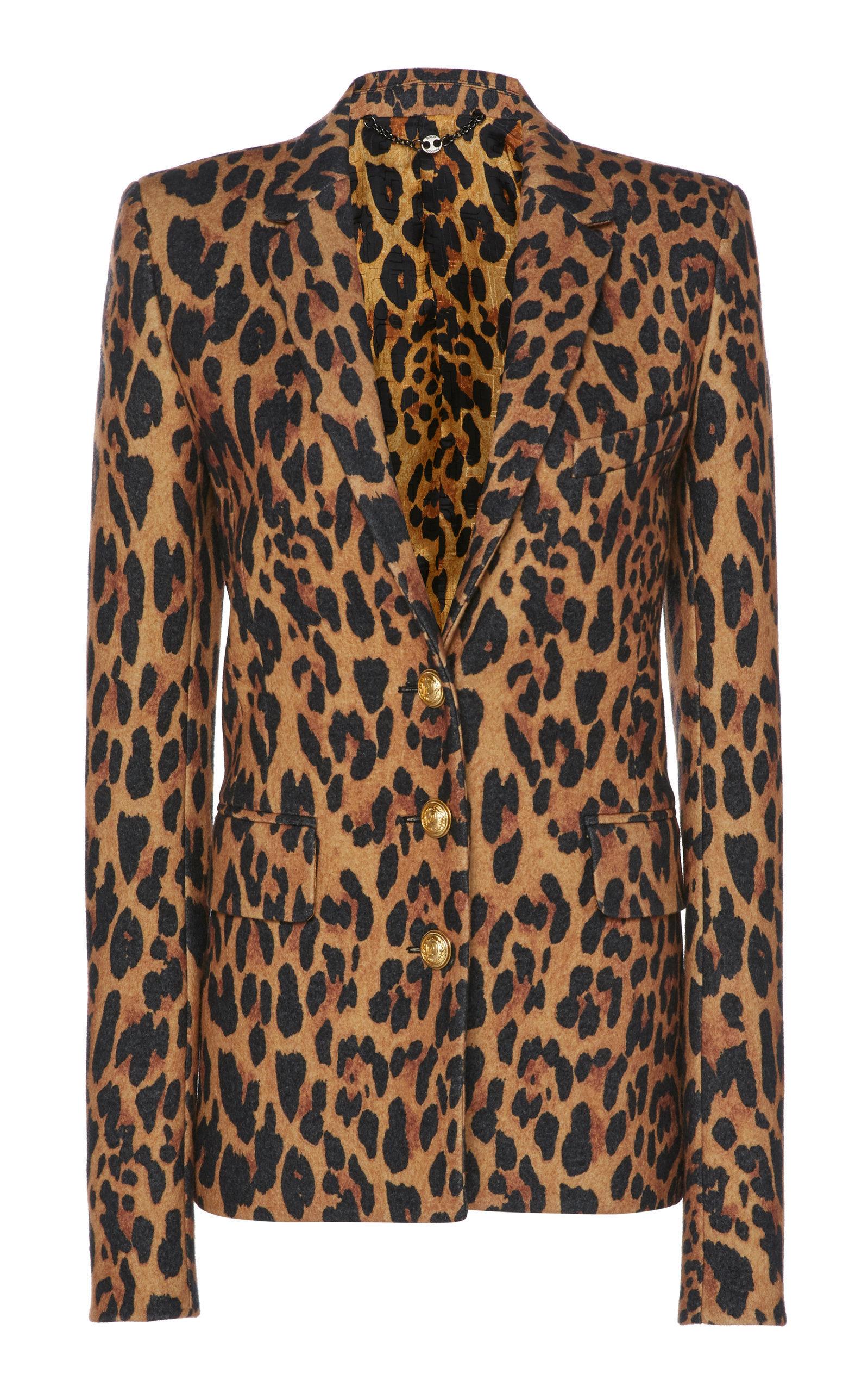 Tailored Leopard Print Wool Blazer