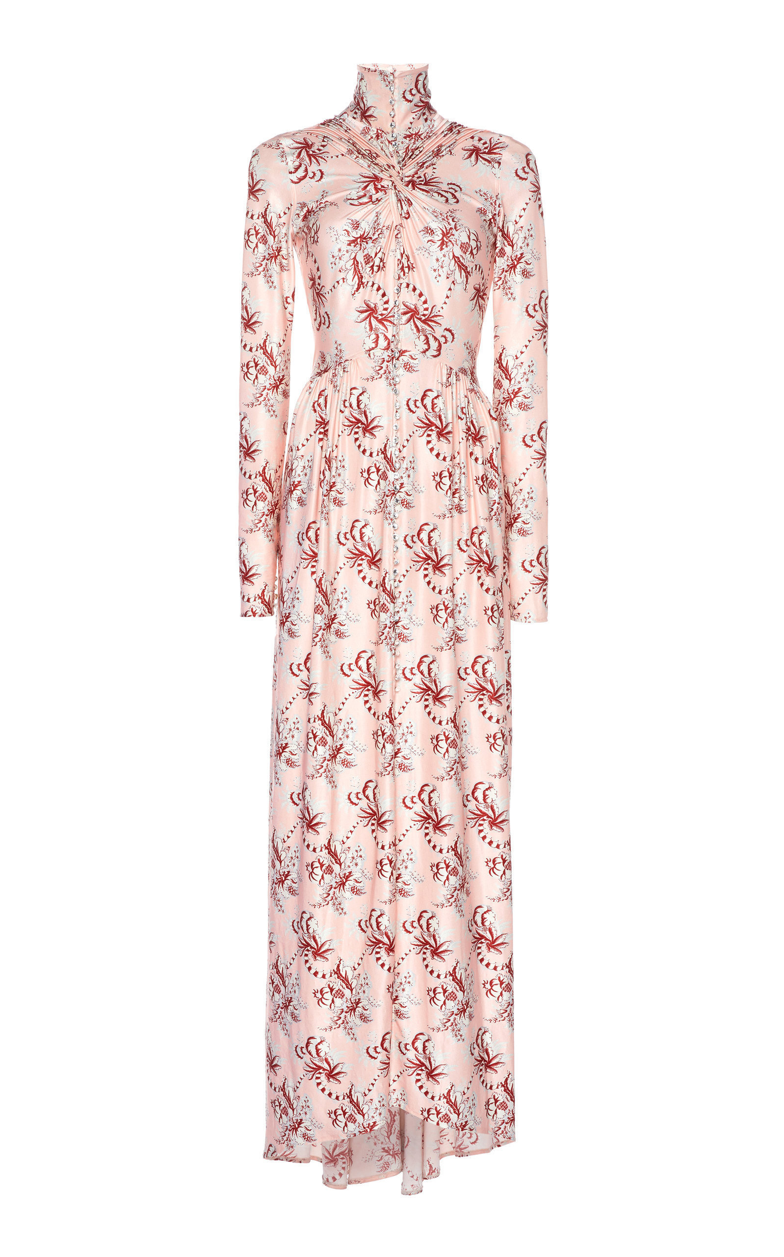 Ruched Printed Jersey Maxi Dress