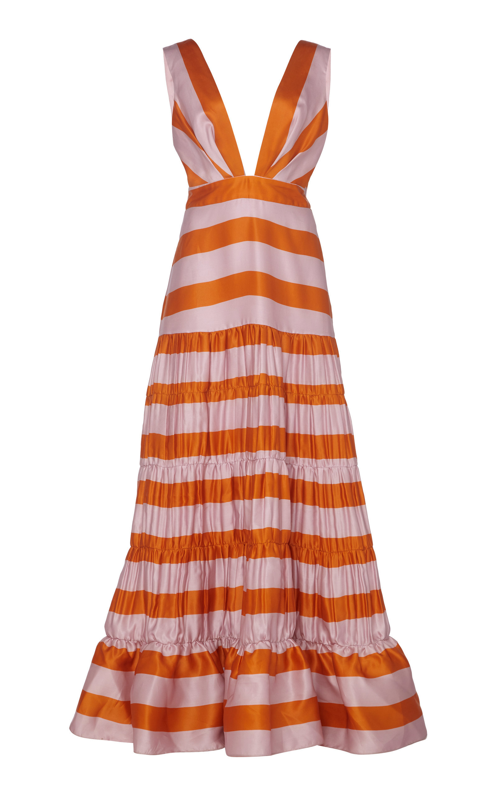 Viveza Colorida Striped Silk Gown