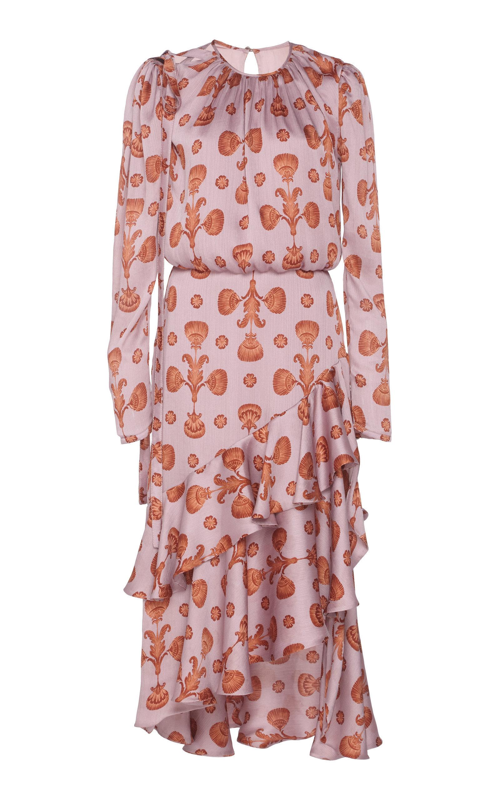 Acordeon Del Mar Crinkle Georgette Midi Dress