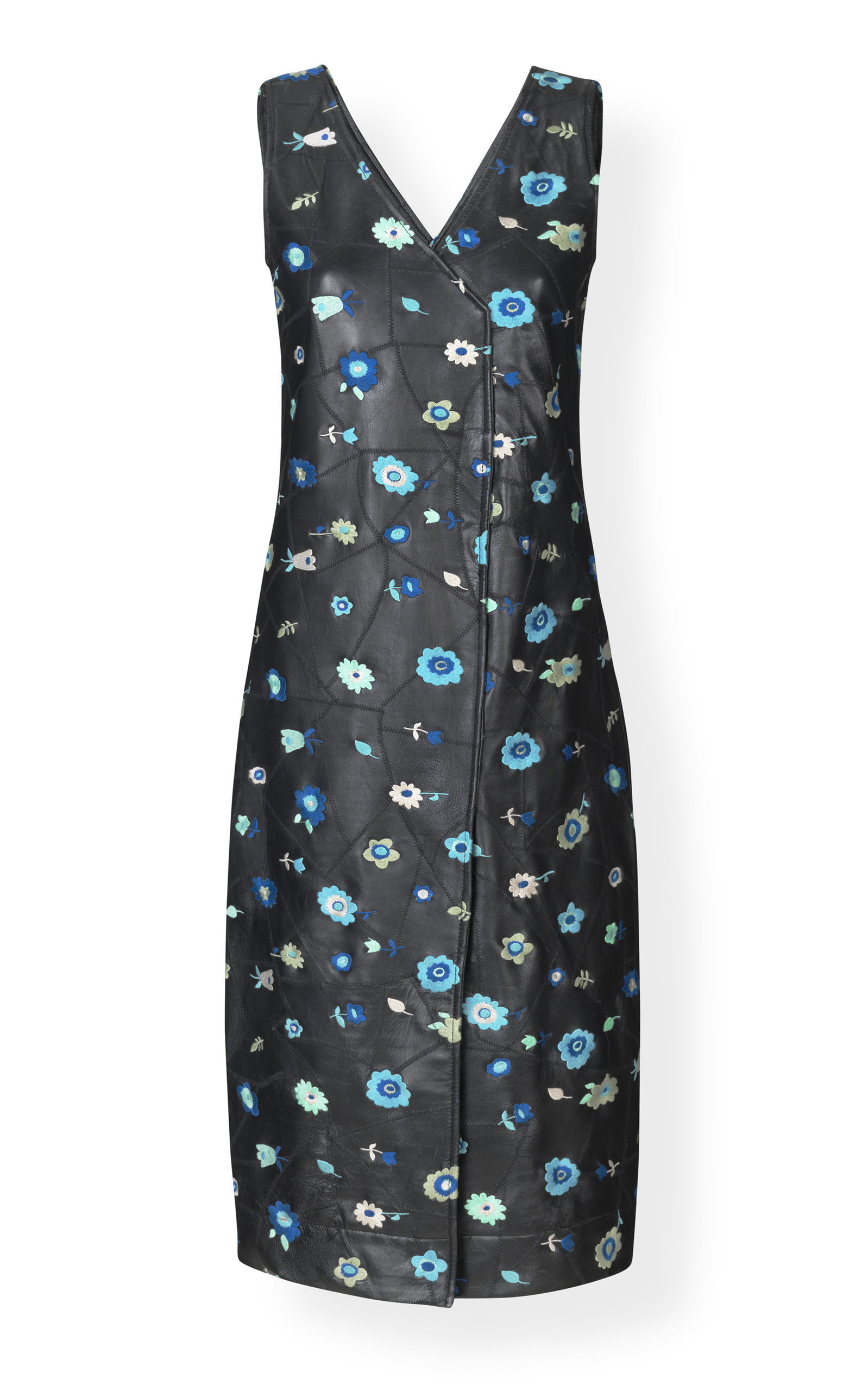 Patchwork-Effect Floral-Print Leather Dress