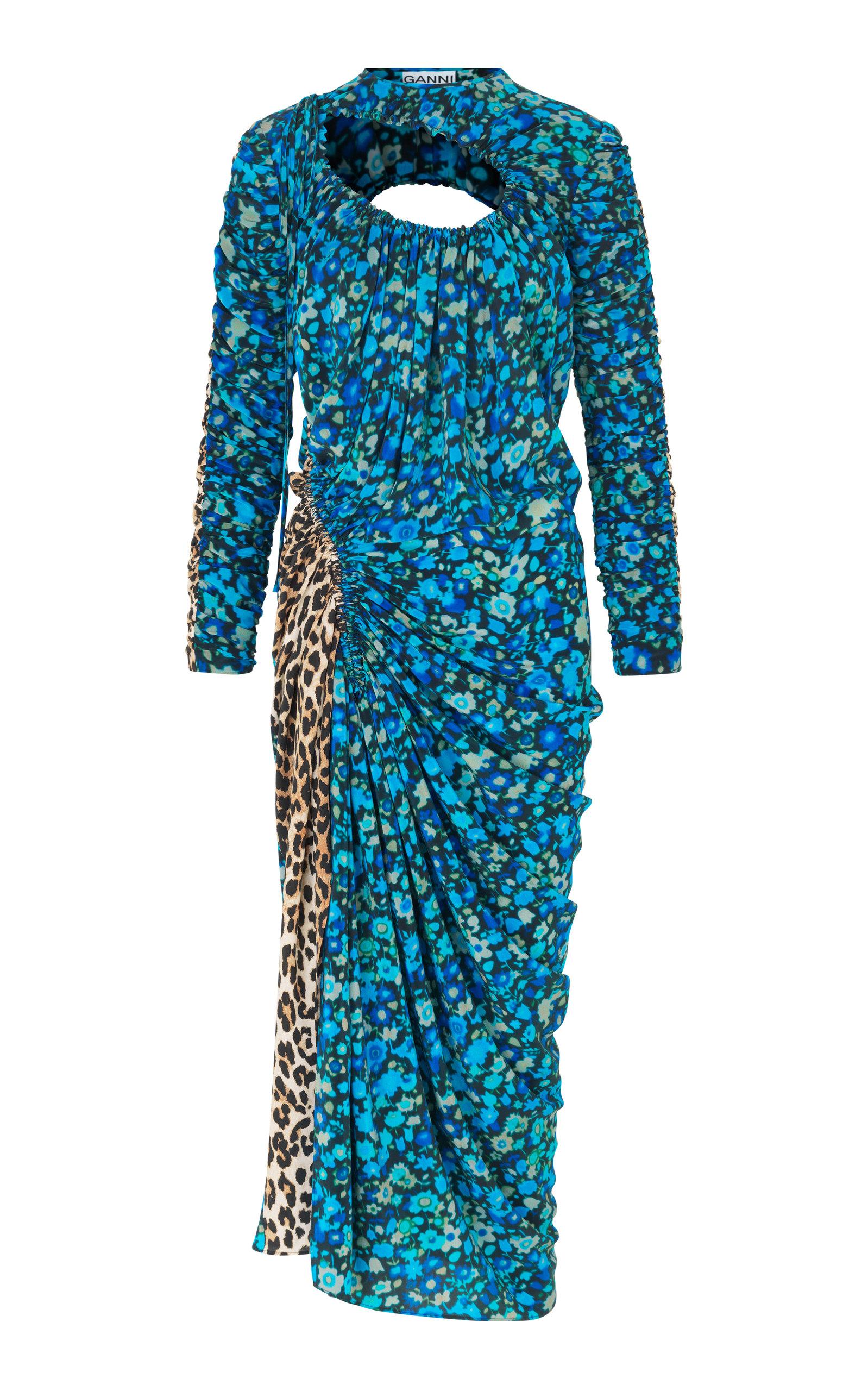 Cutout Floral-Print Georgette Dress
