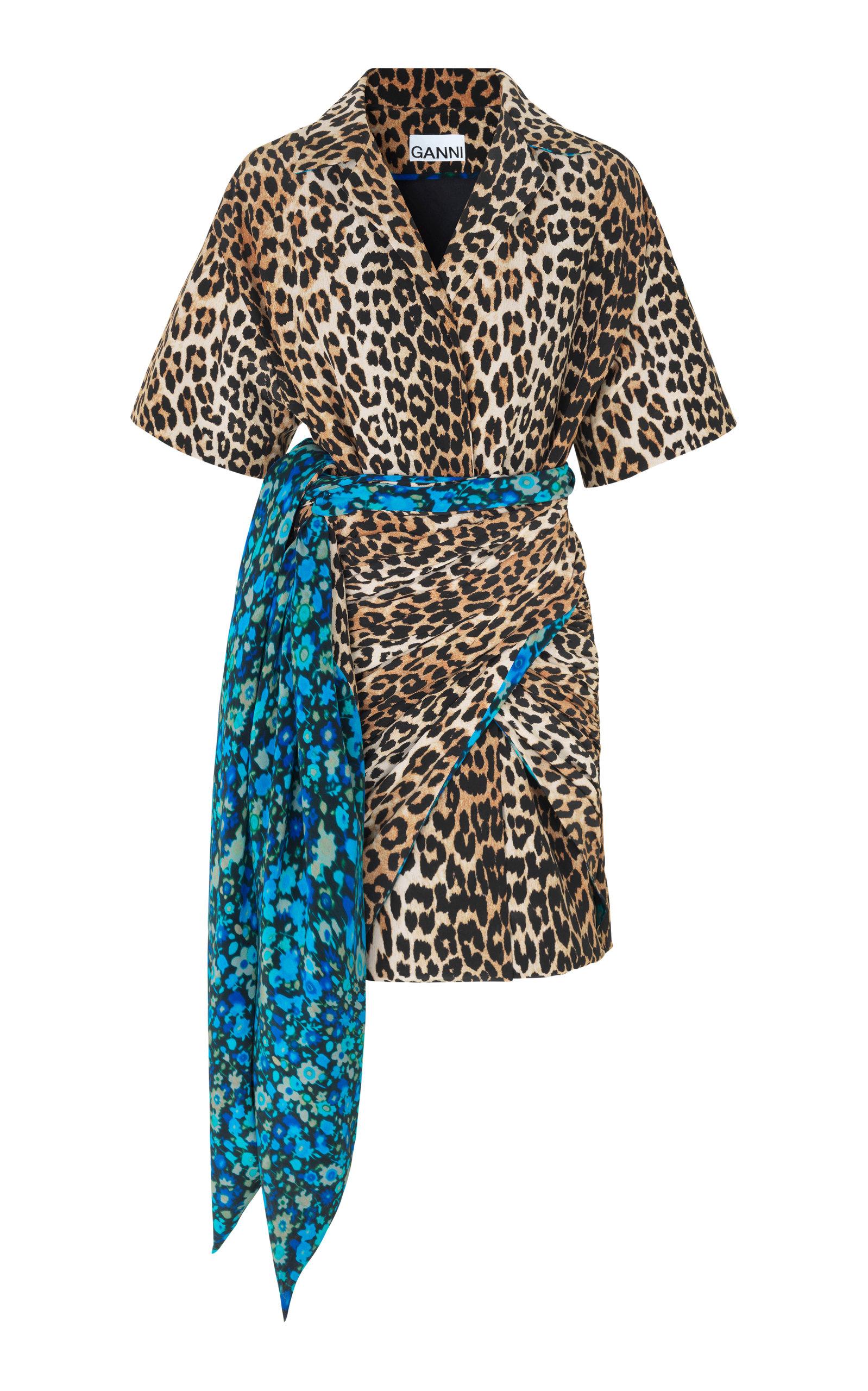 Tie-Front Printed Georgette Mini Dress