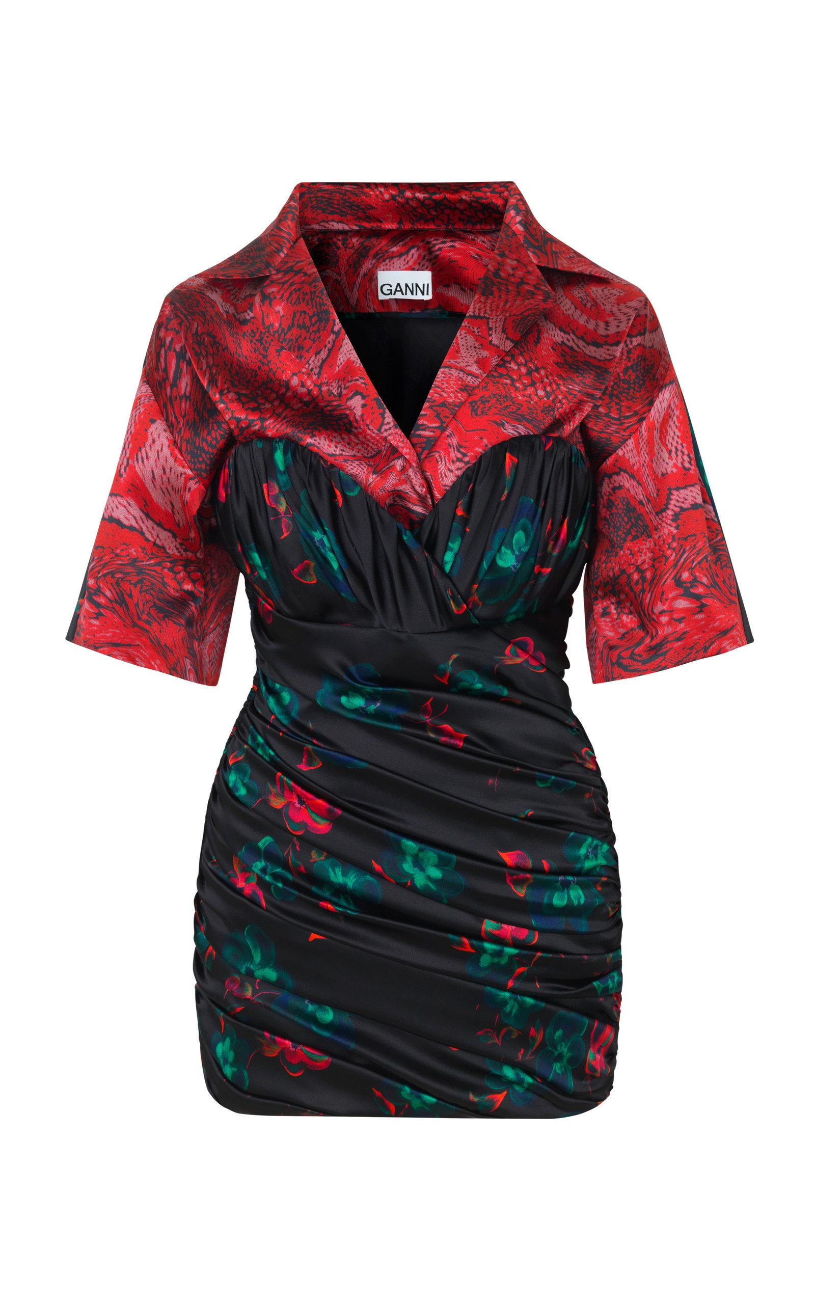 Ruched Printed Silk Blend-Satin Mini Dress