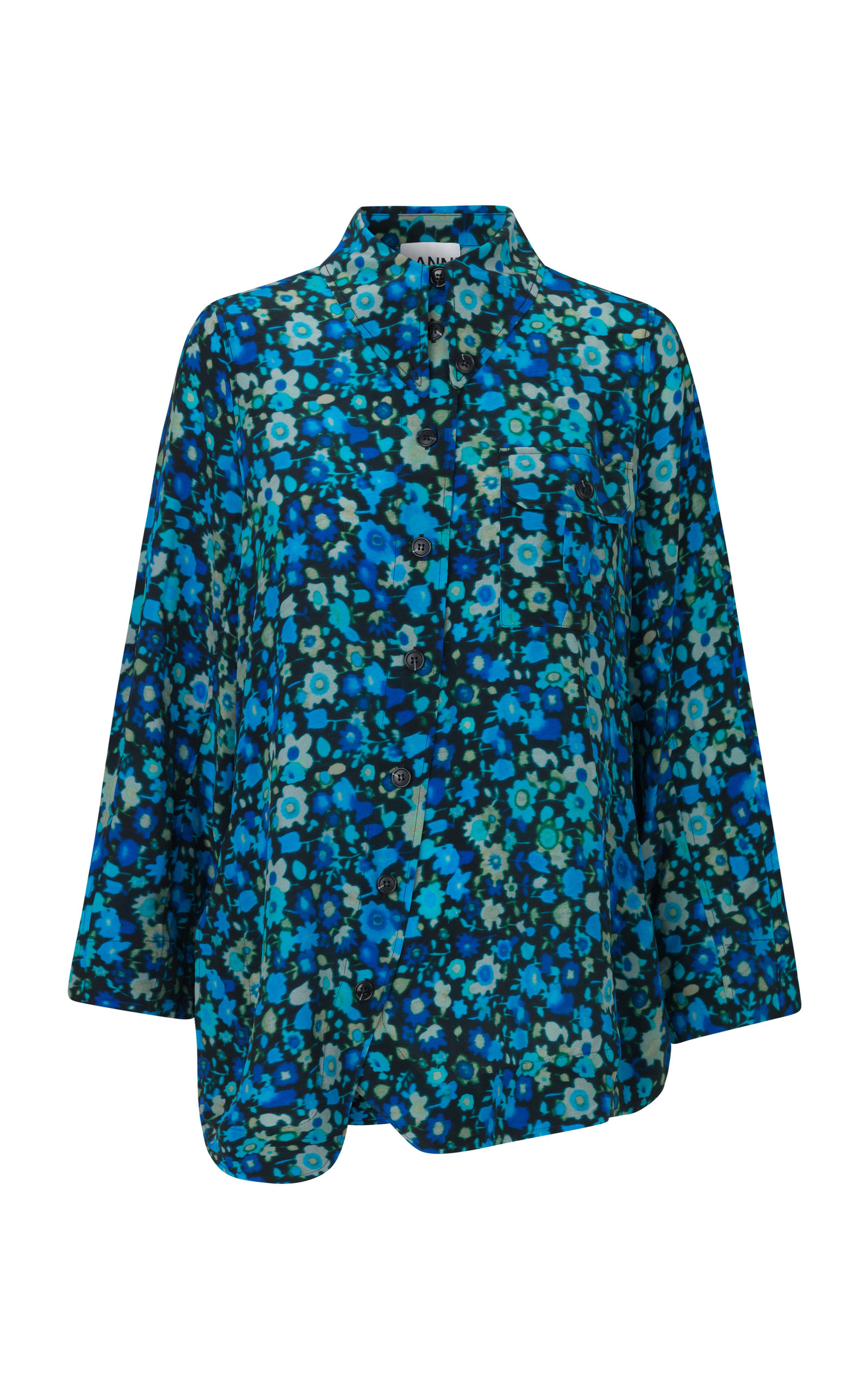 Exclusive Oversized Floral-Print Georgette Shirt