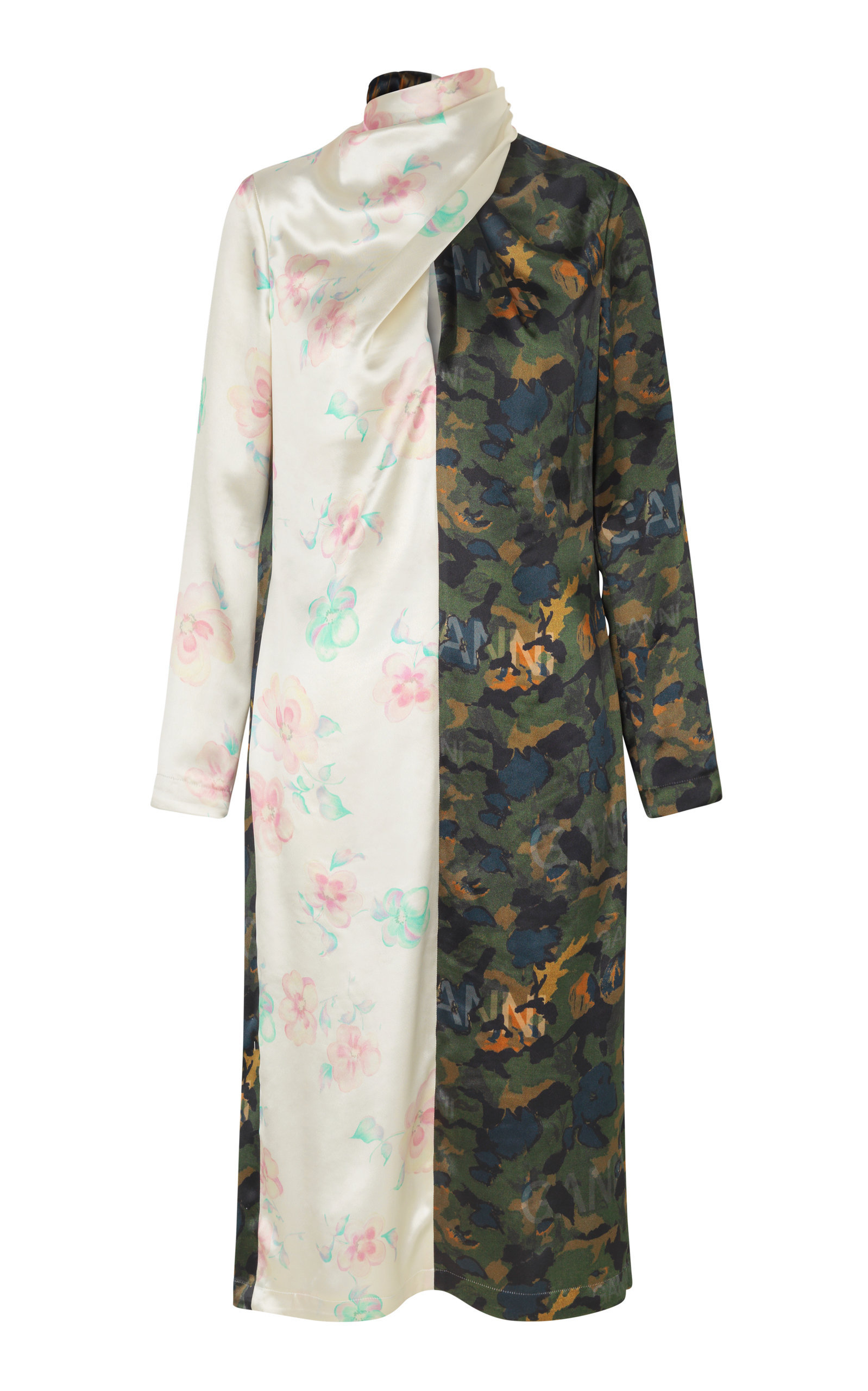 Scarf-Detailed Printed Satin Dress