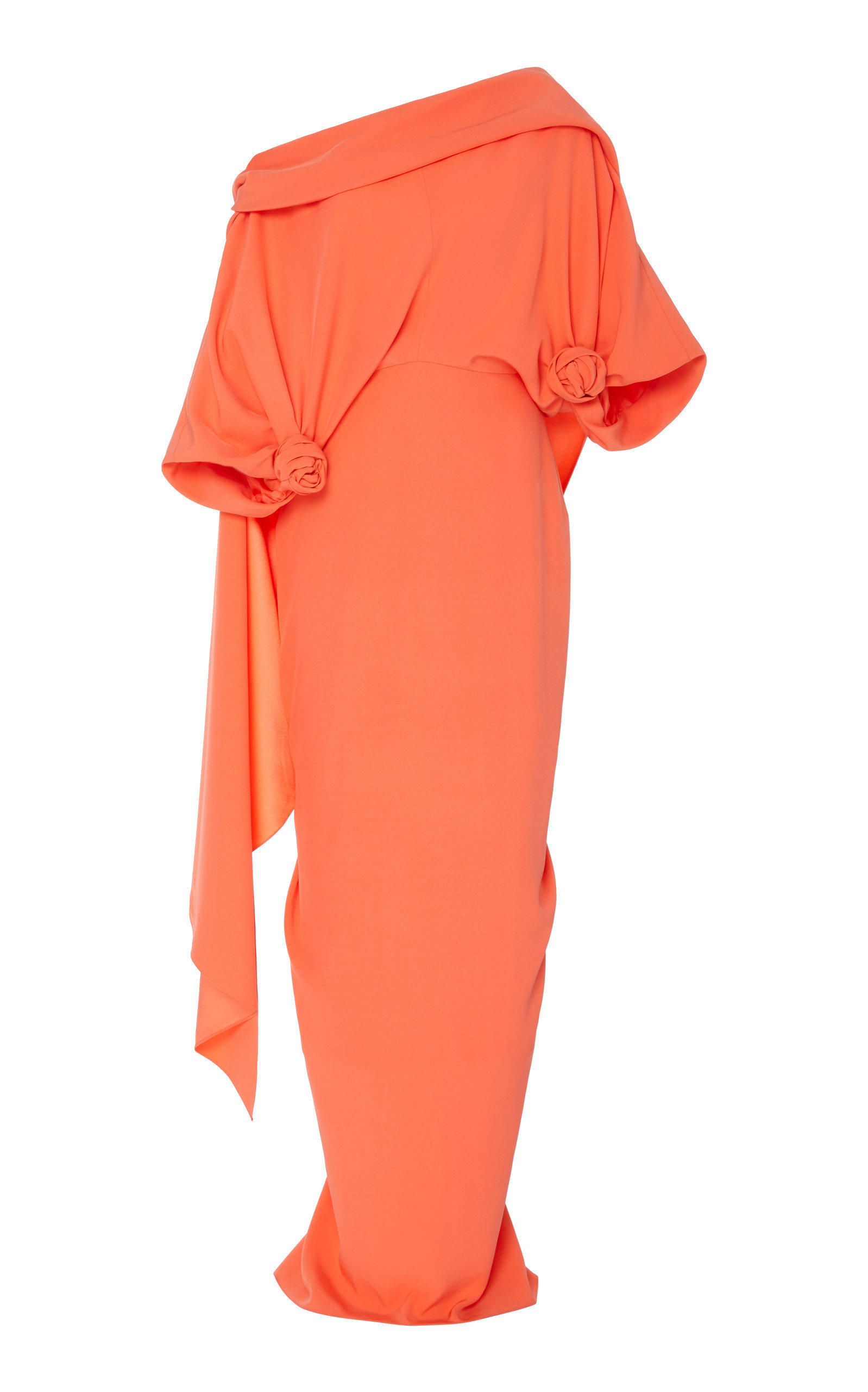 ASYMMETRIC KNOTTED SILK GOWN