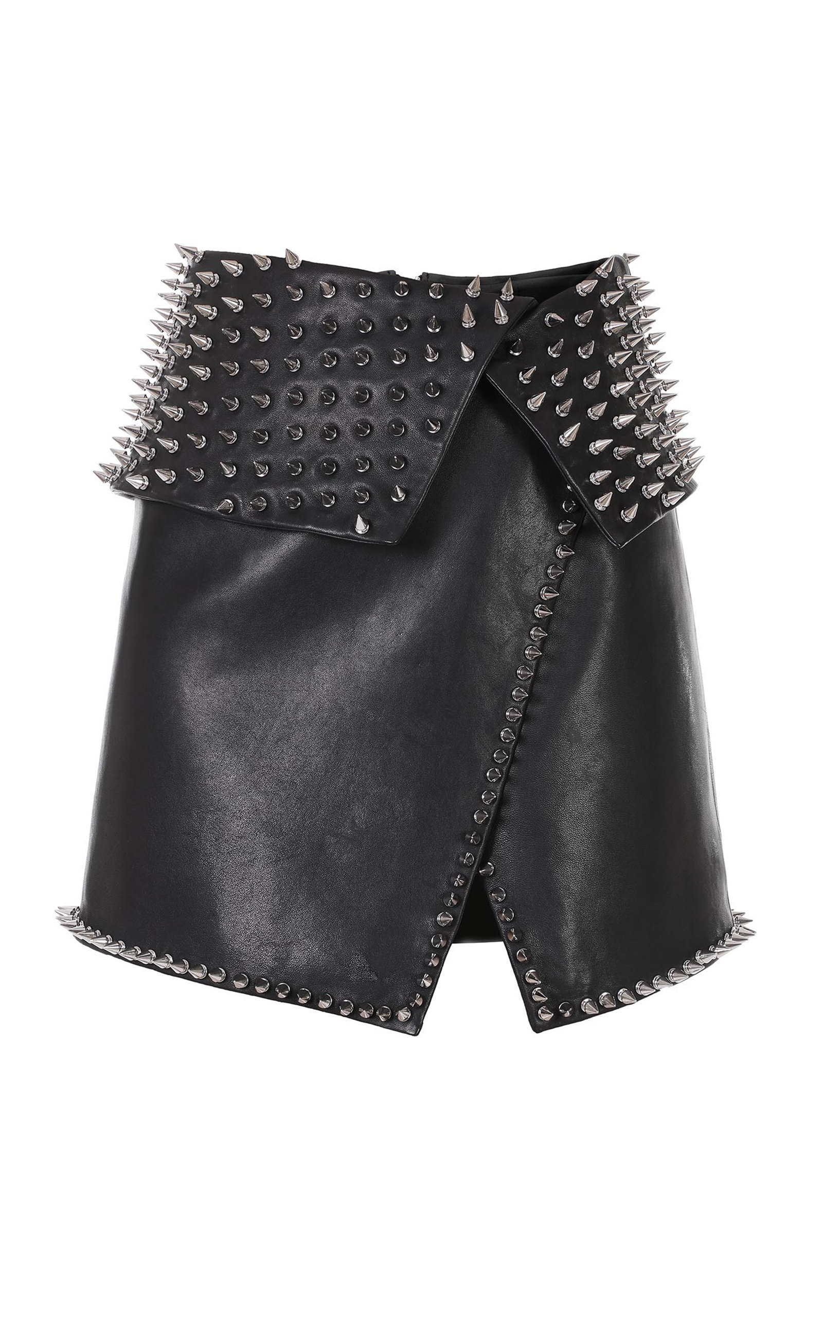 Spiked Wrap Leather Mini Skirt