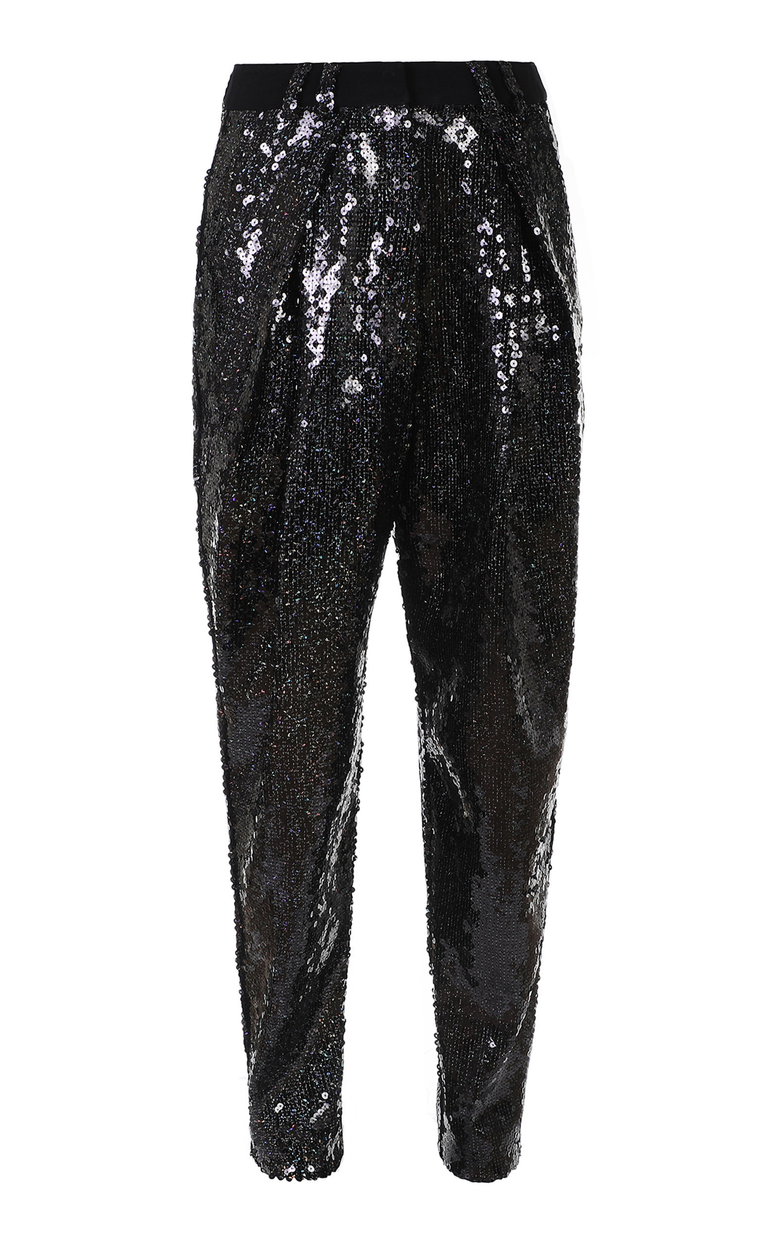 High-Waisted Sequined Tapered Pants