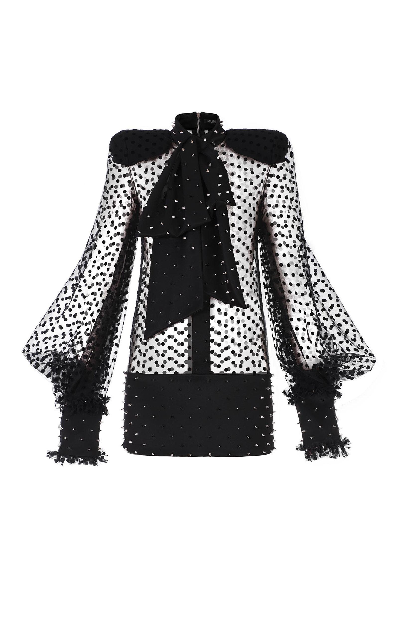 Bow-Embellished Spiked Swiss-Dot Mini Dress