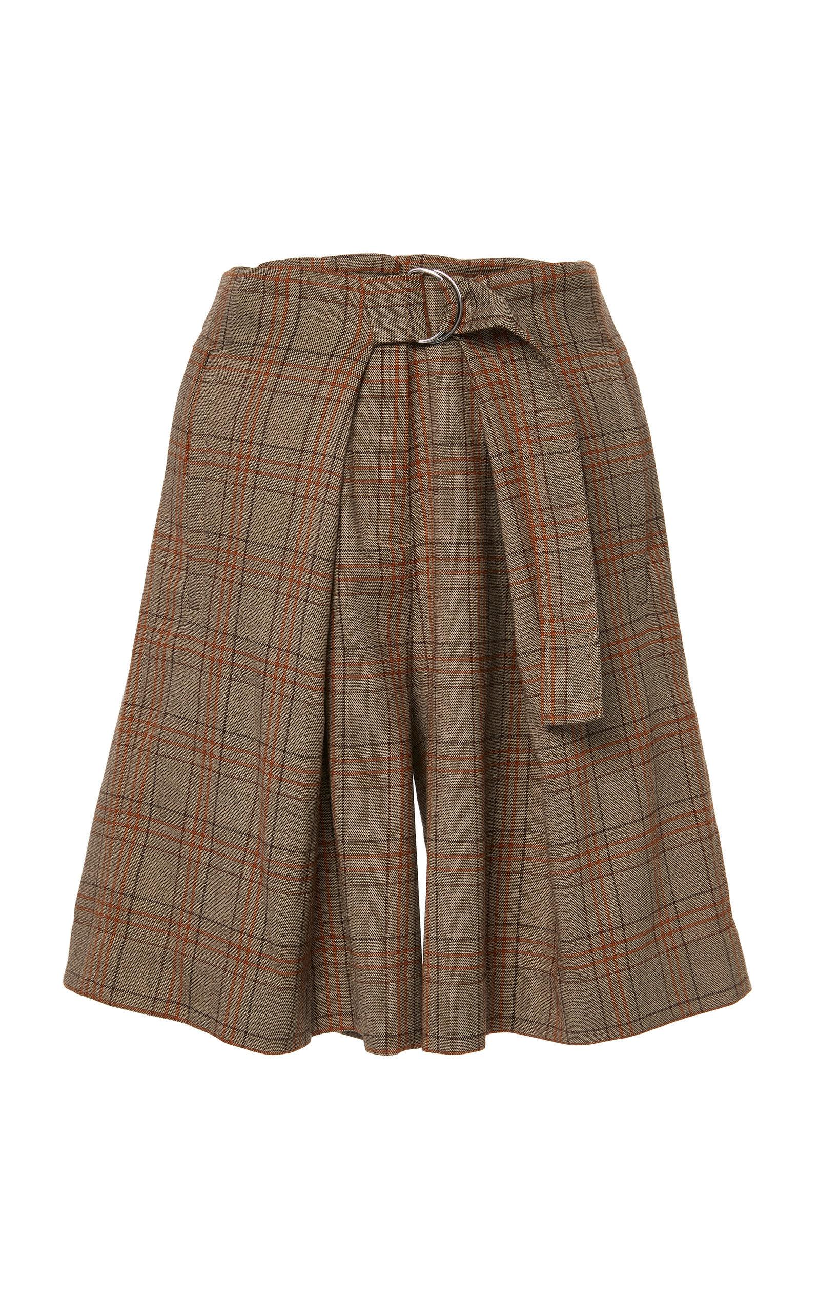James Menswear Check Pleated Shorts | $425