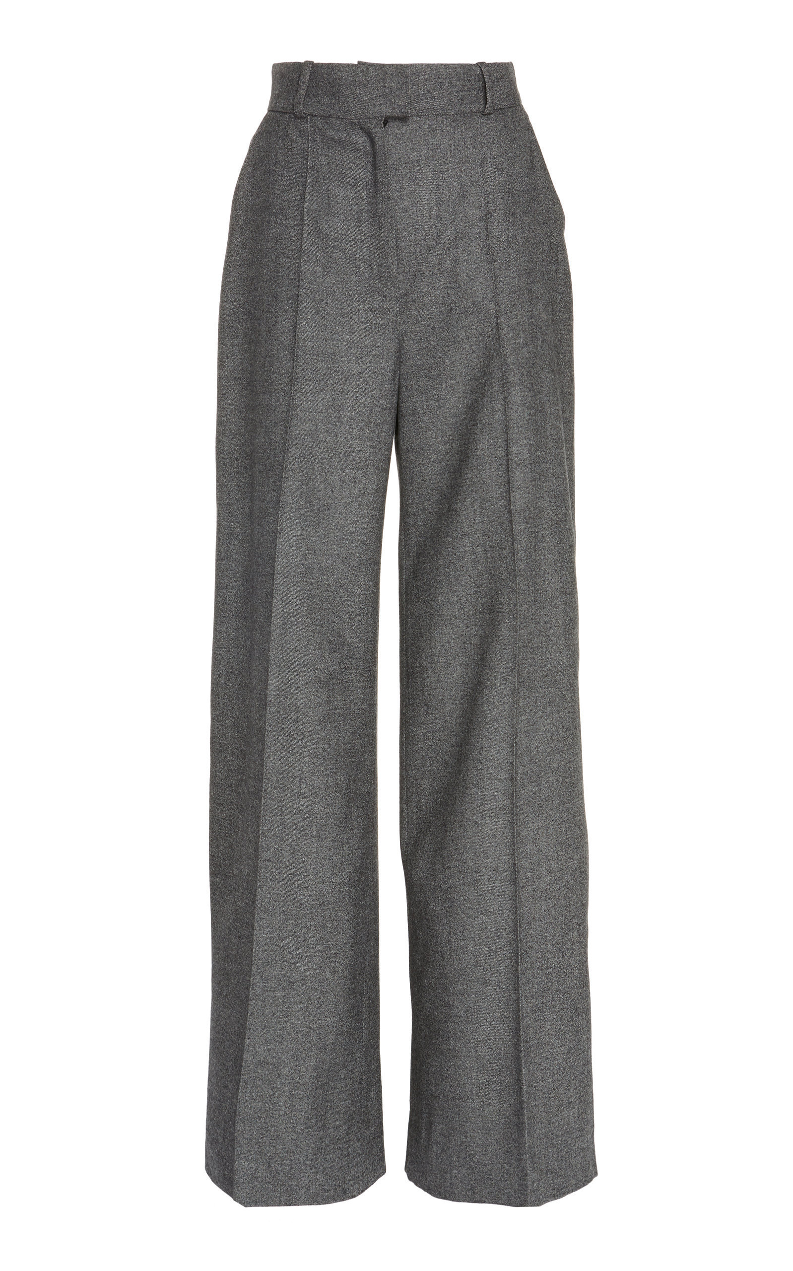 High Waist Virgin Wool Wide Leg Trousers
