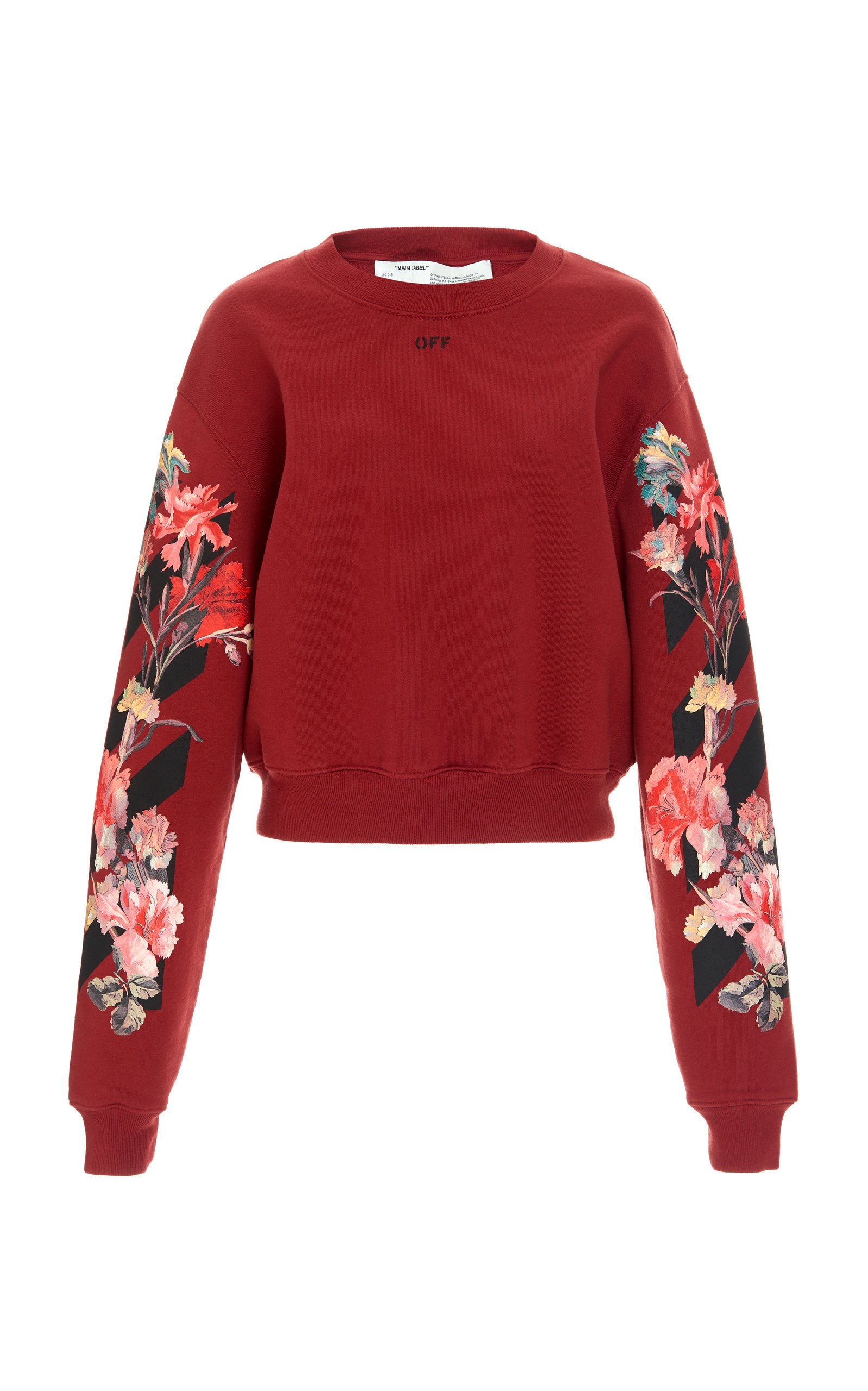 Faux Fur College CardiganFlower Cotton Crop Crewneck