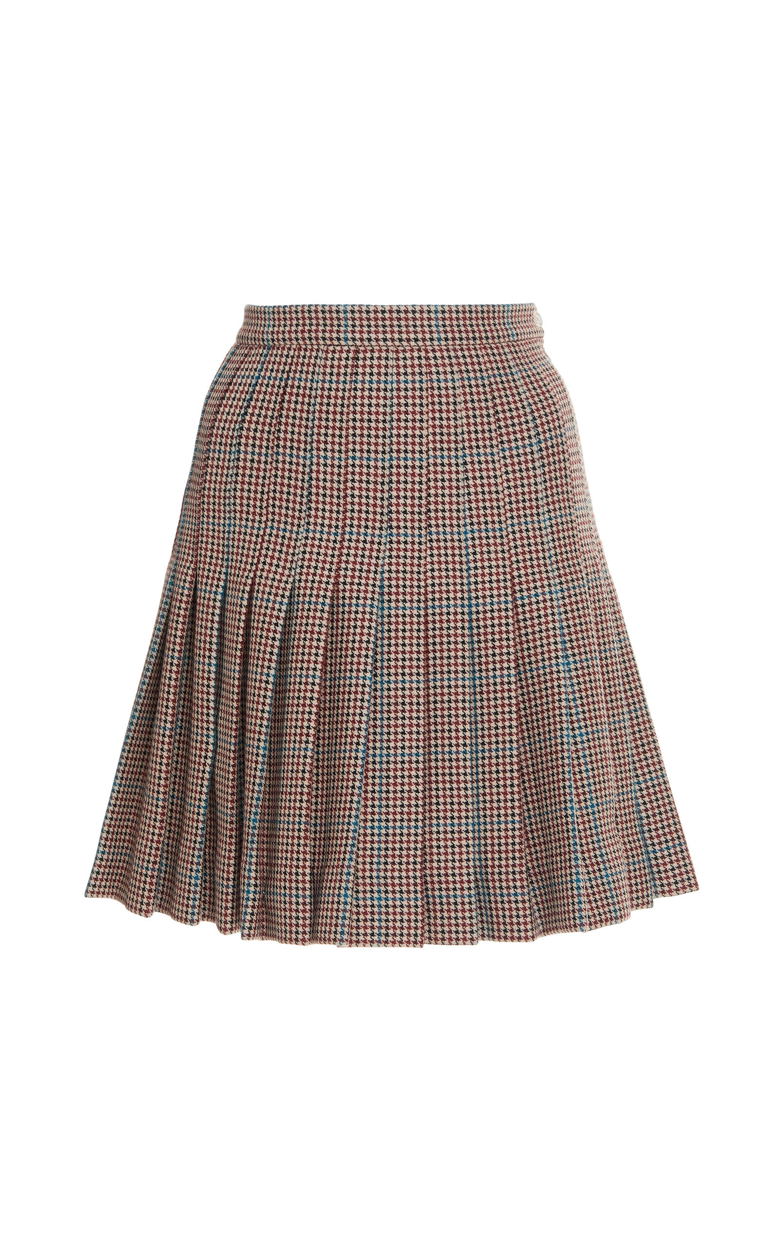 Check Pleated Wool Skirt