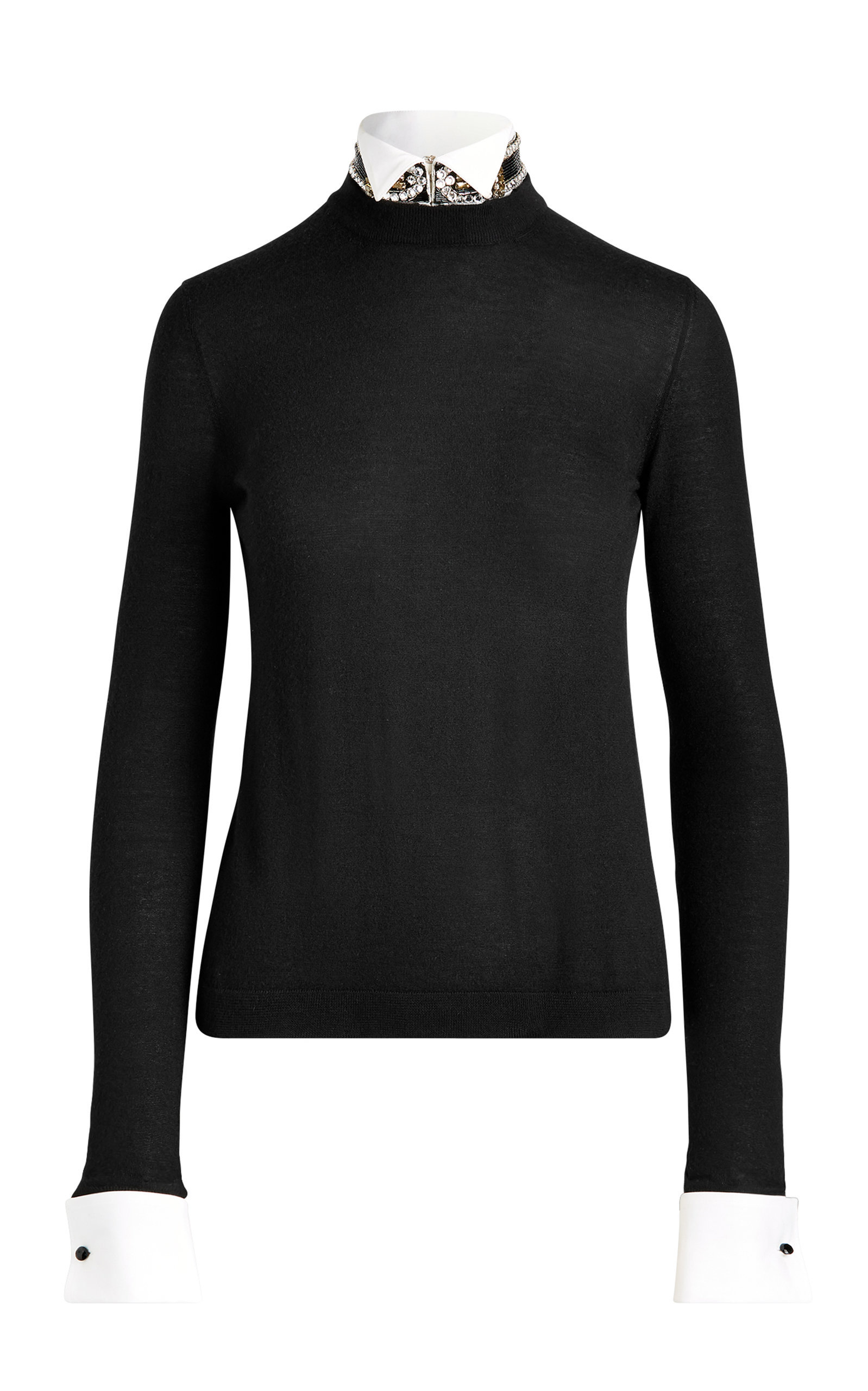 CRYSTAL-COLLAR CASHMERE SWEATER