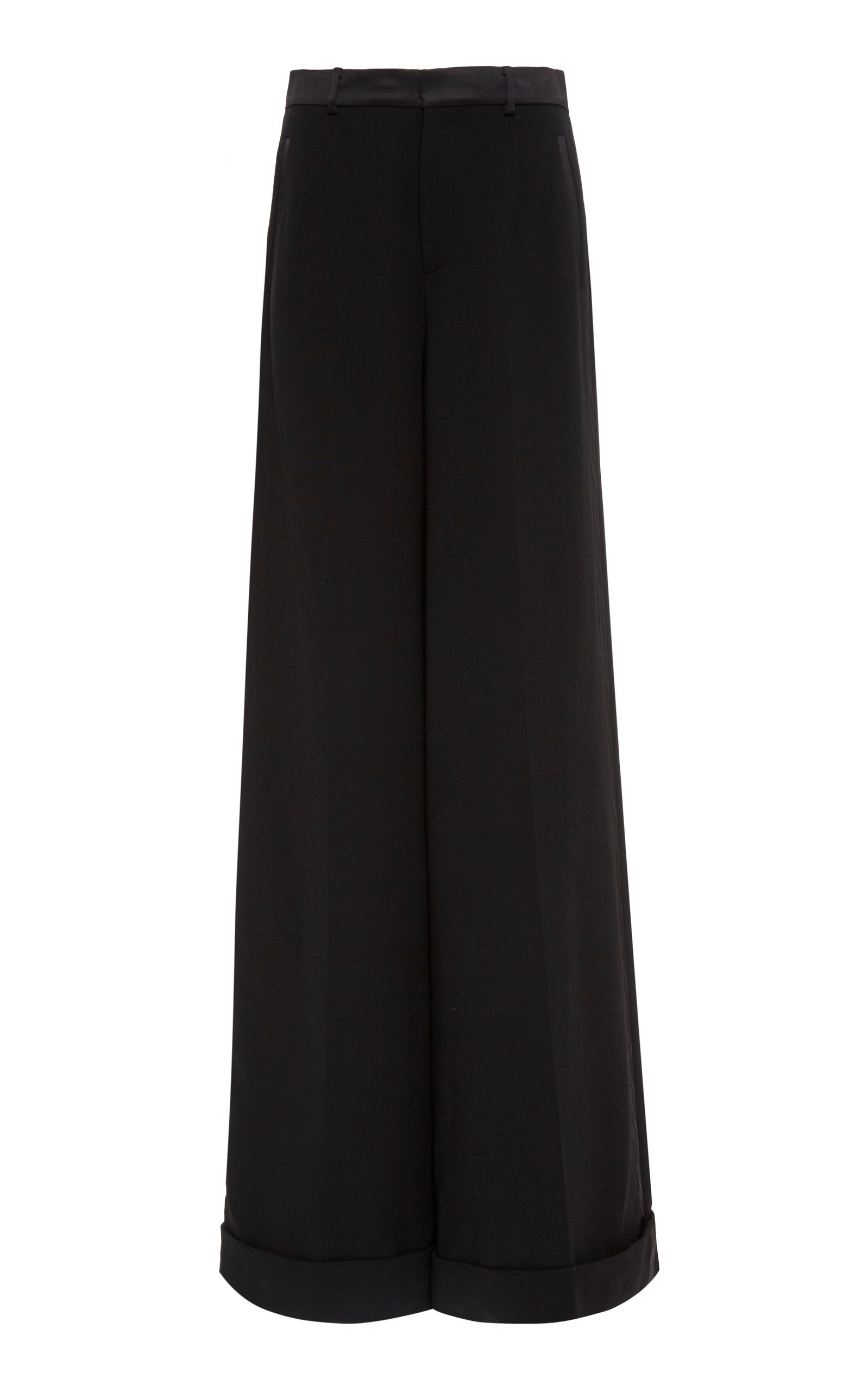 SATIN-TRIMMED WIDE-LEG PANTS