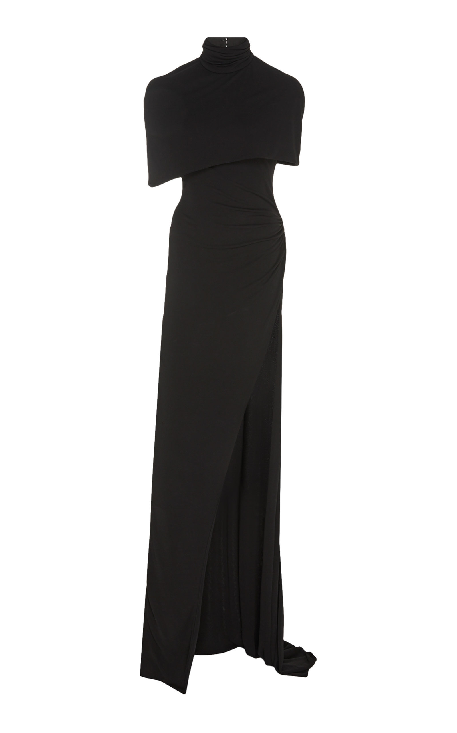 CAPELET GOWN WITH HIGH SLIT