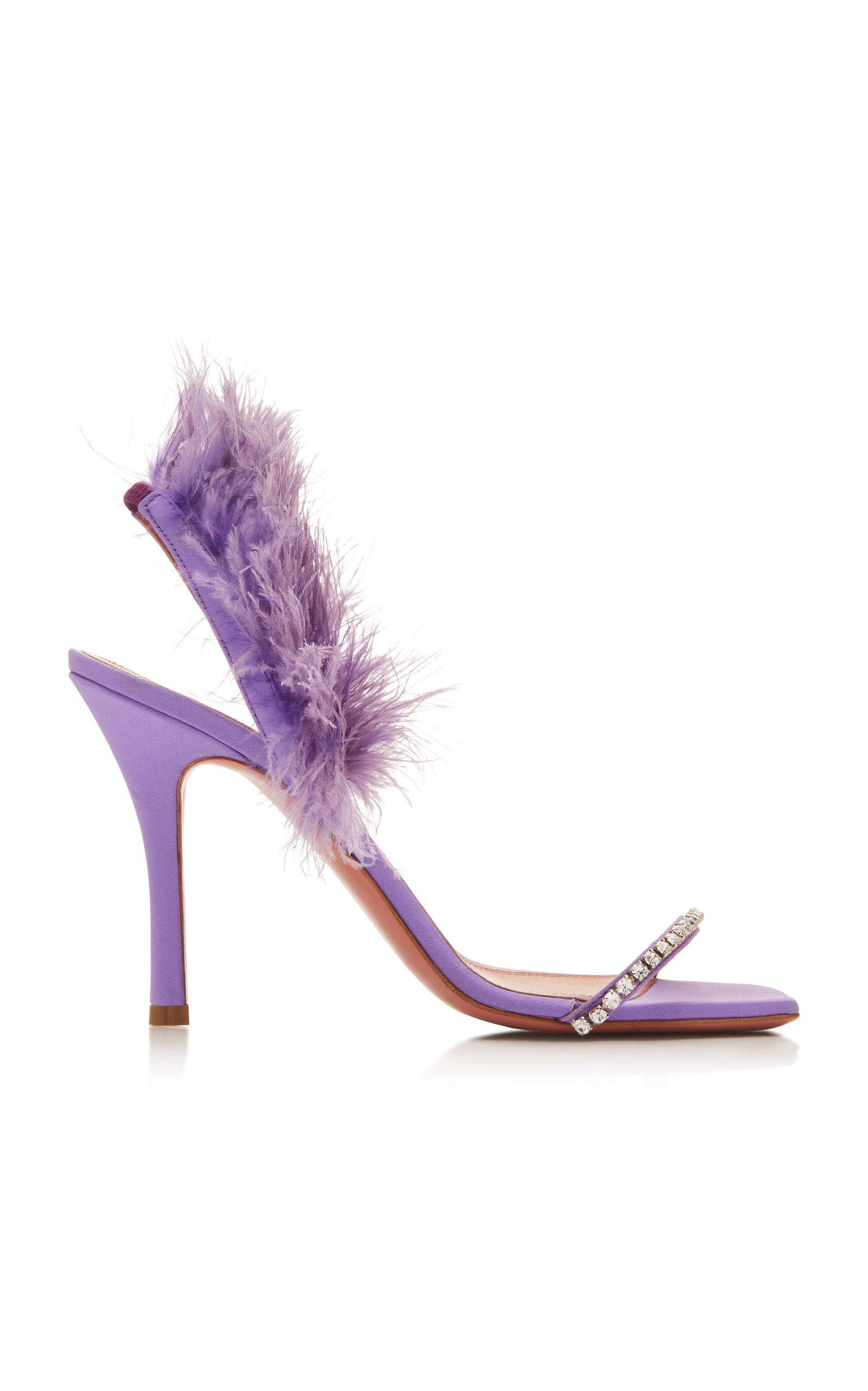 Feather and Crystal Satin Sandals