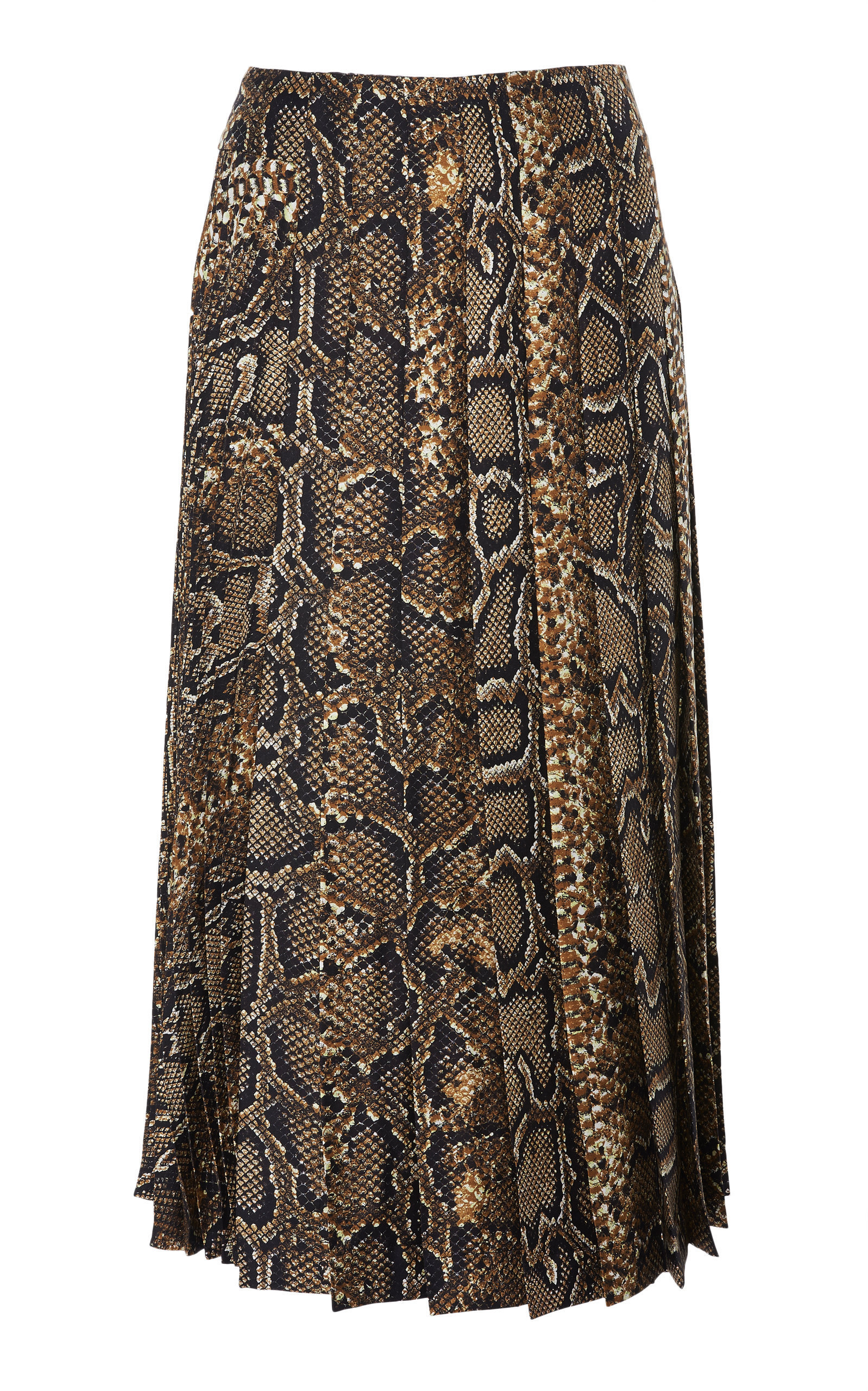 Silk Snake Print Pleated Skirt