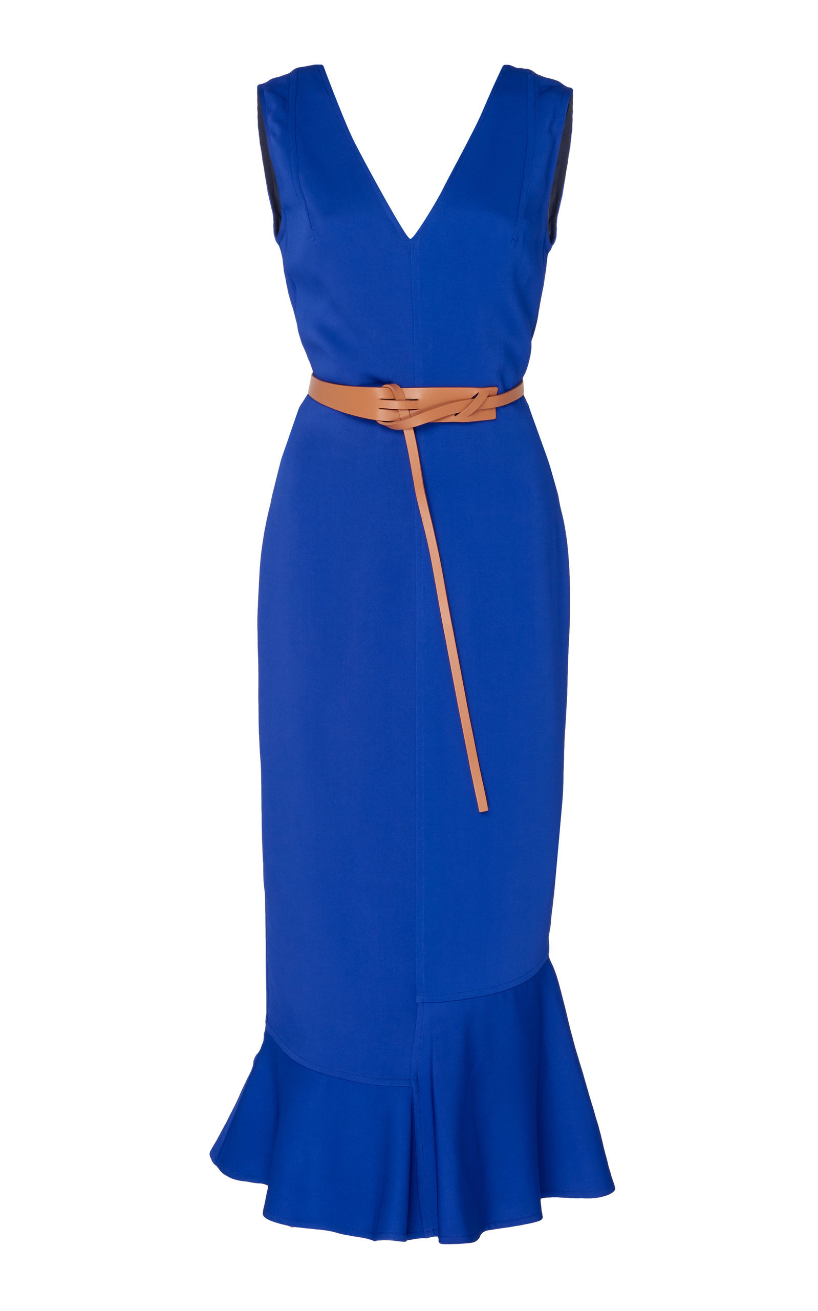 Georgette Frill Hem Midi Dress With Belt