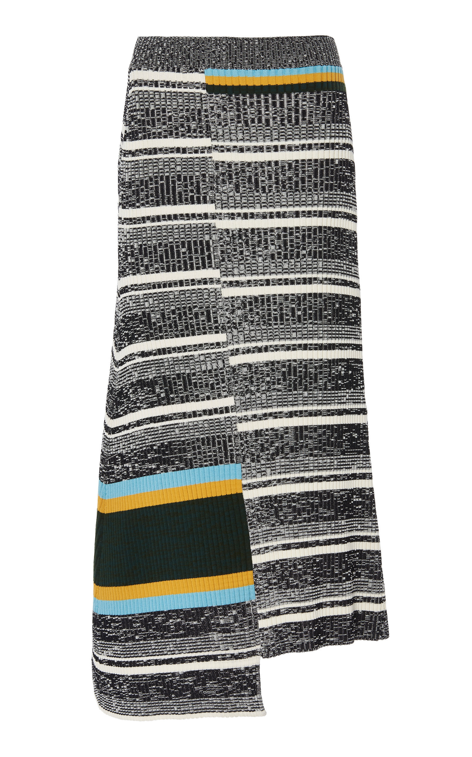 Asymmetric Striped Cotton Rib Knit Skirt