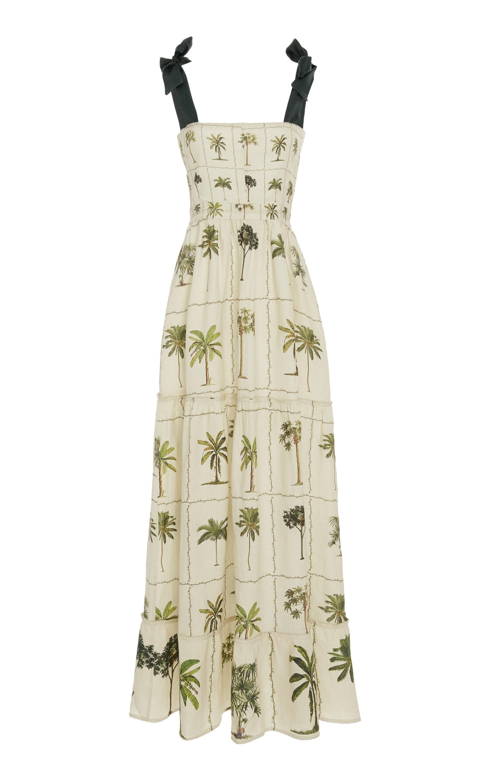 Herbarium Floral-Print Linen Maxi Dress
