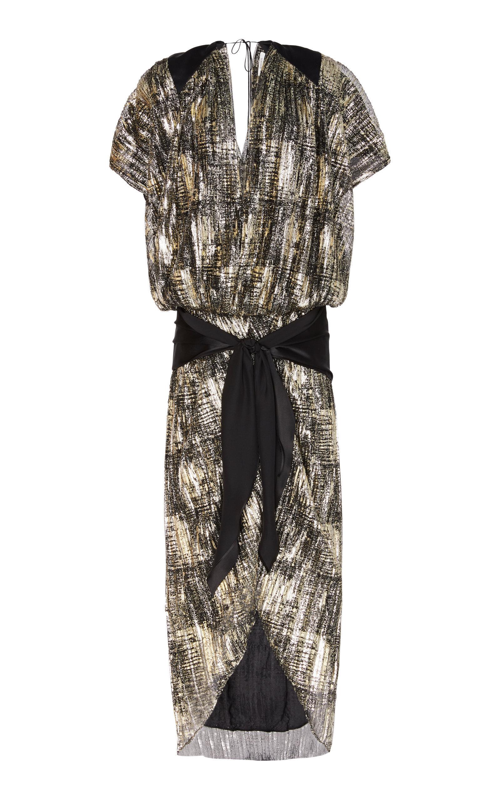 SATIN-DETAILED LAMÉ DRESS