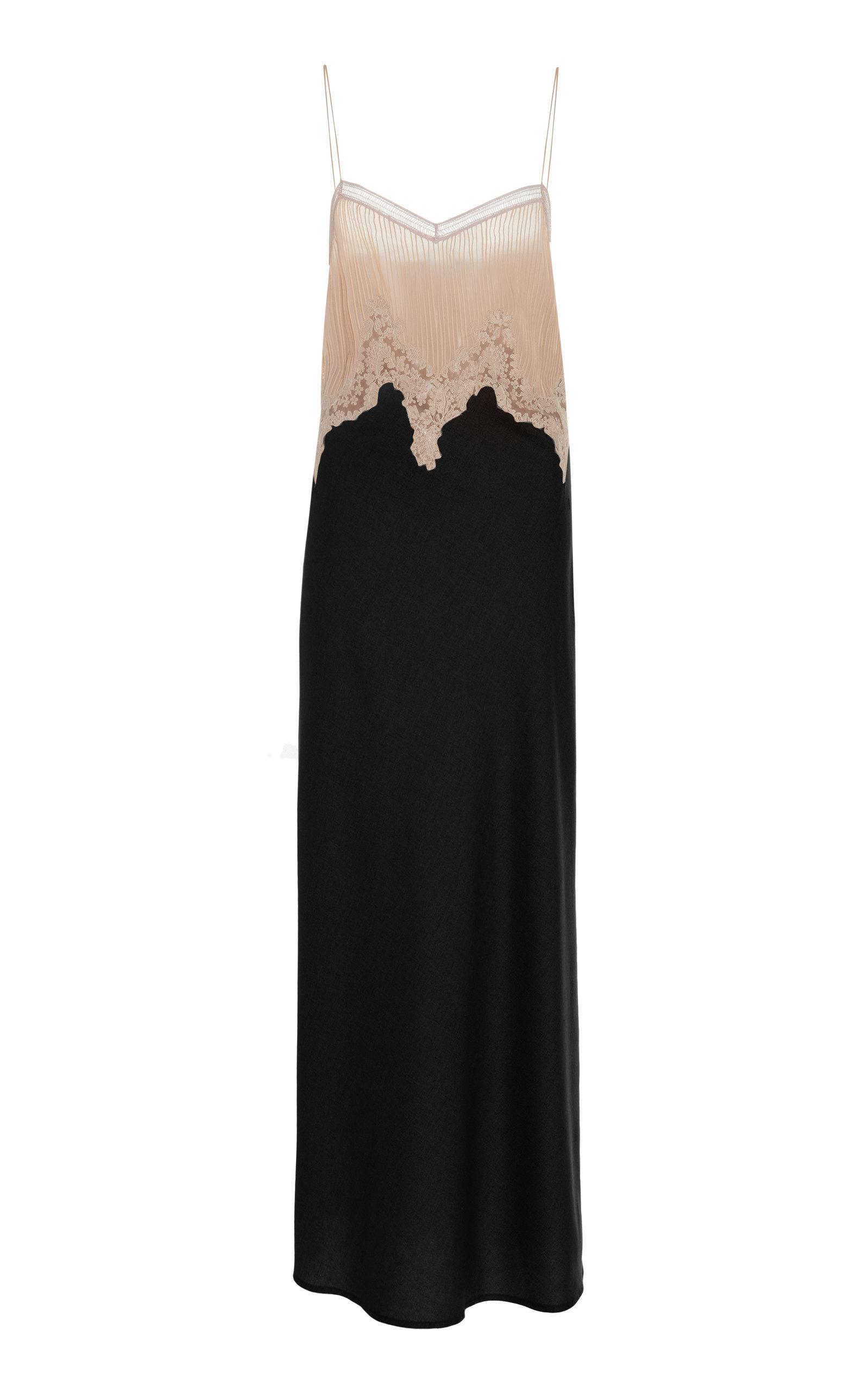 Plissé Lace Silk Cashmere Maxi Dress