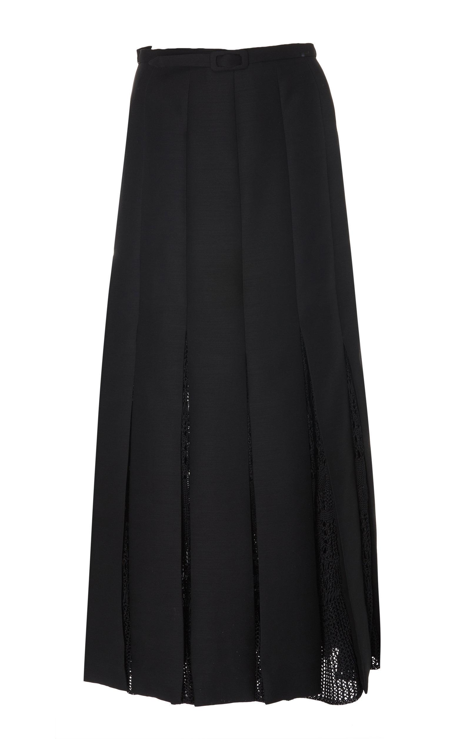 Pleated Wool Silk Skirt