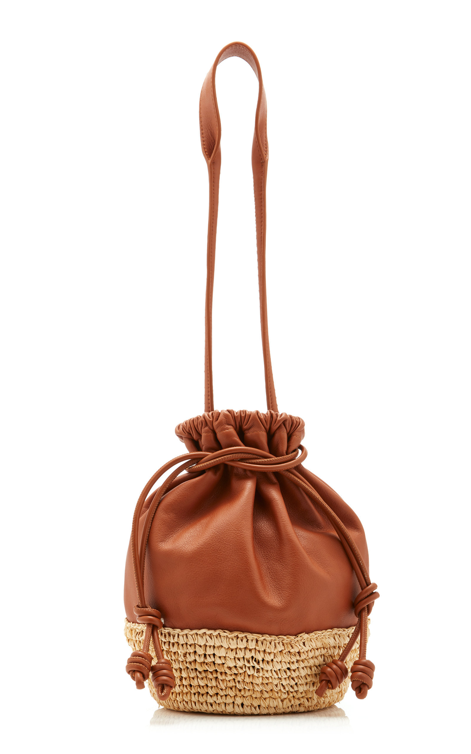 Carlita Mini Raffia-Paneled Leather Basket Bag