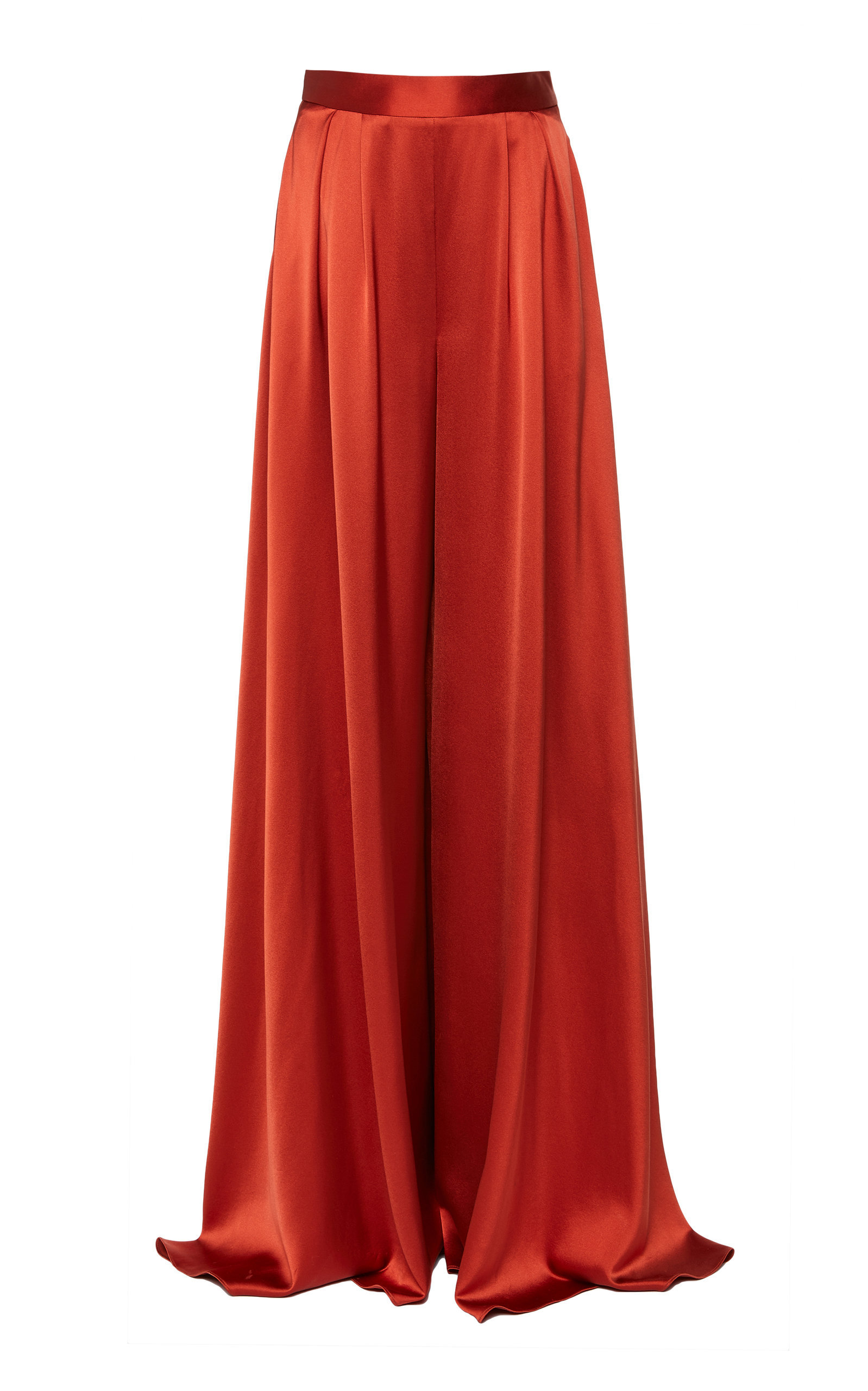 Pleated Silk Wide Leg Pant