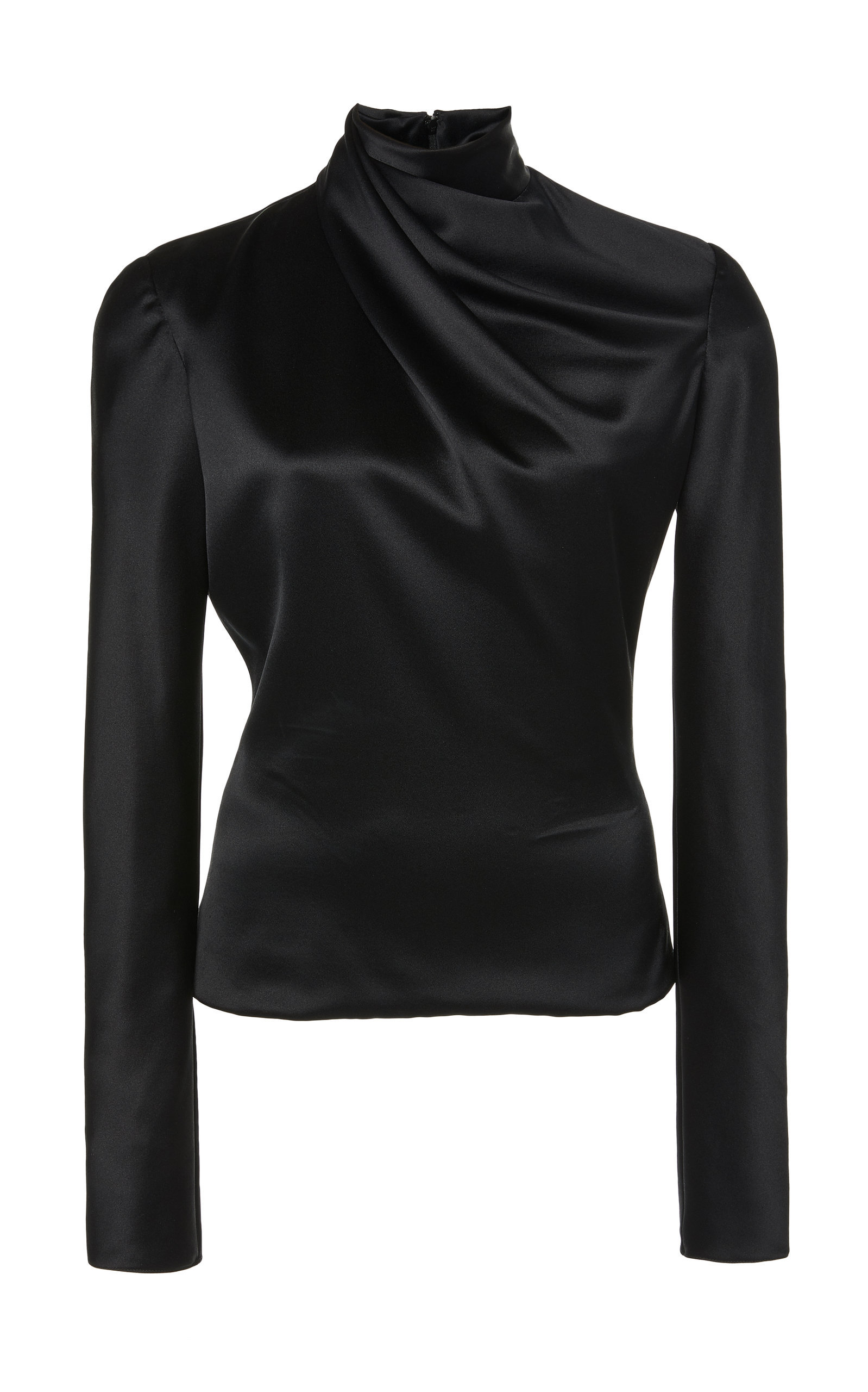 Draped Neck Silk Blouse