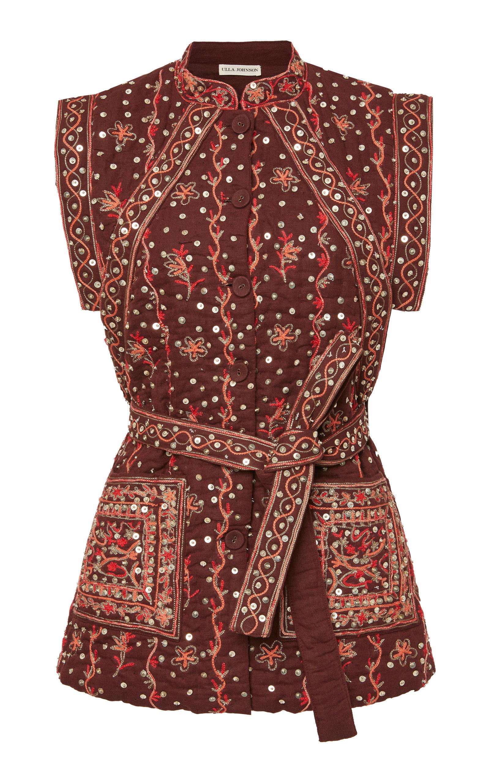 Indira Embroidered Linen-Cotton Blend Vest | $595