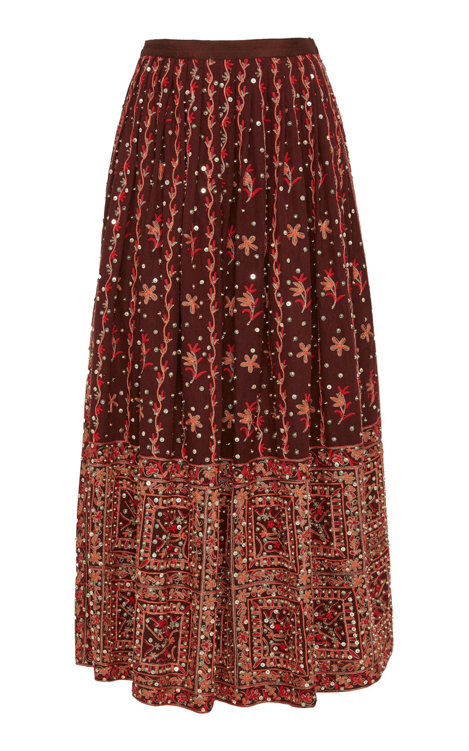 Aisha Embroidered Linen-Cotton Blend Maxi Skirt | $845